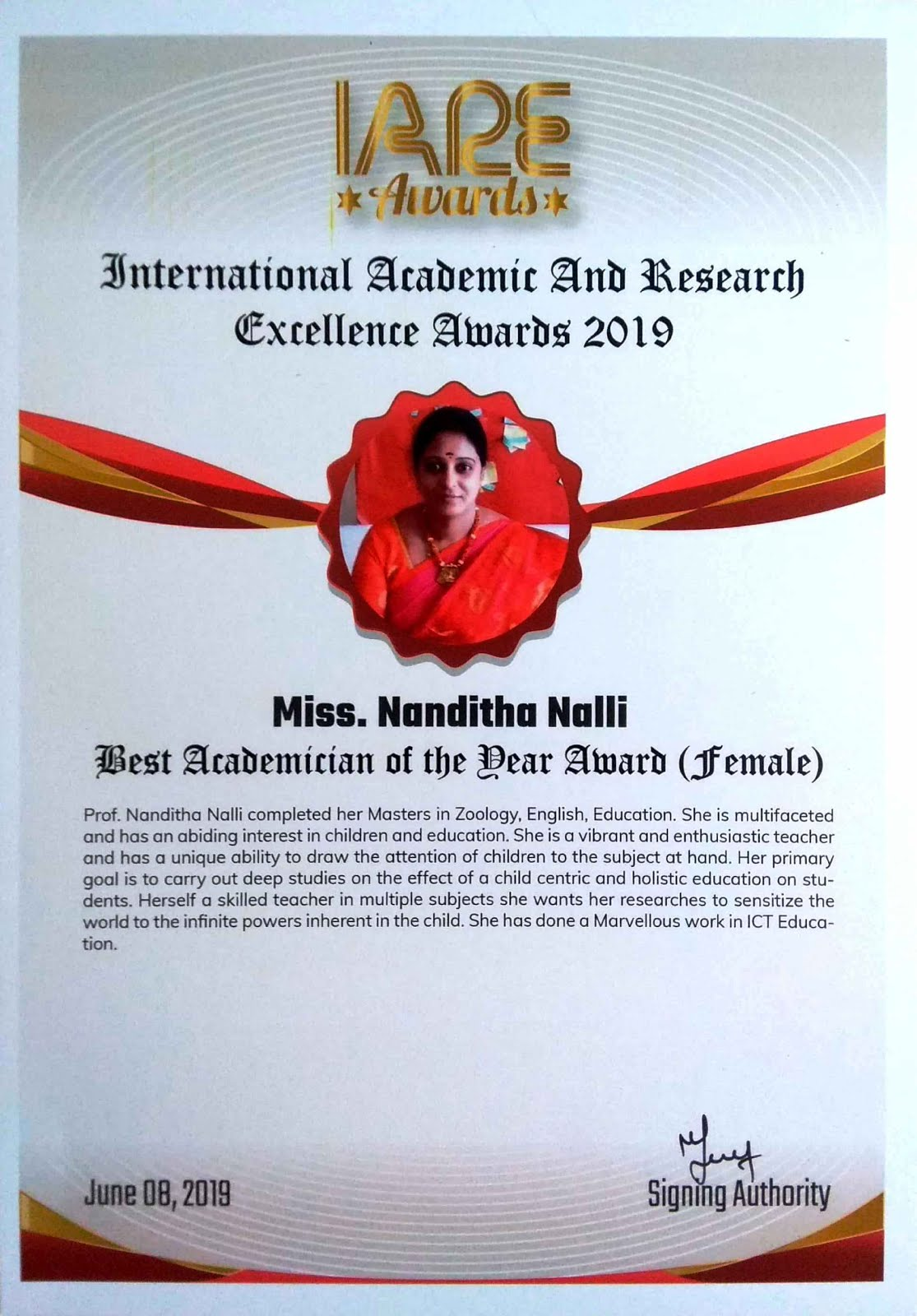 "RECEIVED  ""INTERNATIONAL  ACADEMIC AND RESEARCH EXCELLENCE AWARD (IARE 2019)"