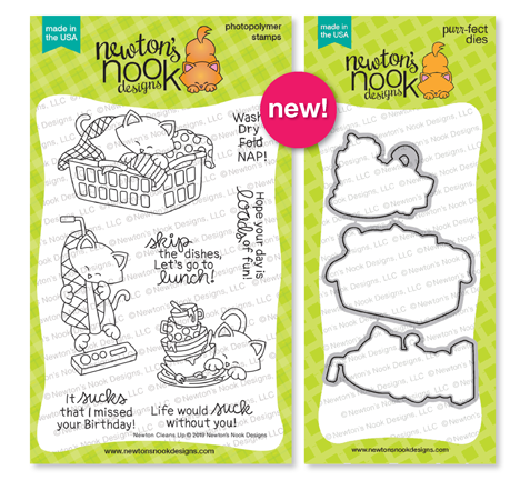 Newton Cleans Up | Cat and Housecleaning Stamp Set by Newton's Nook Designs #newtonsnook