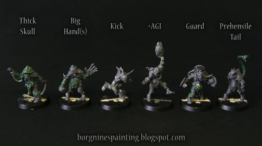 4 unpainted, kitbashed miniatures of rotters for Blood Bowl Nurgle team. Through the use of bits and greenstuff, they were converted to show their own upgrade skills.
