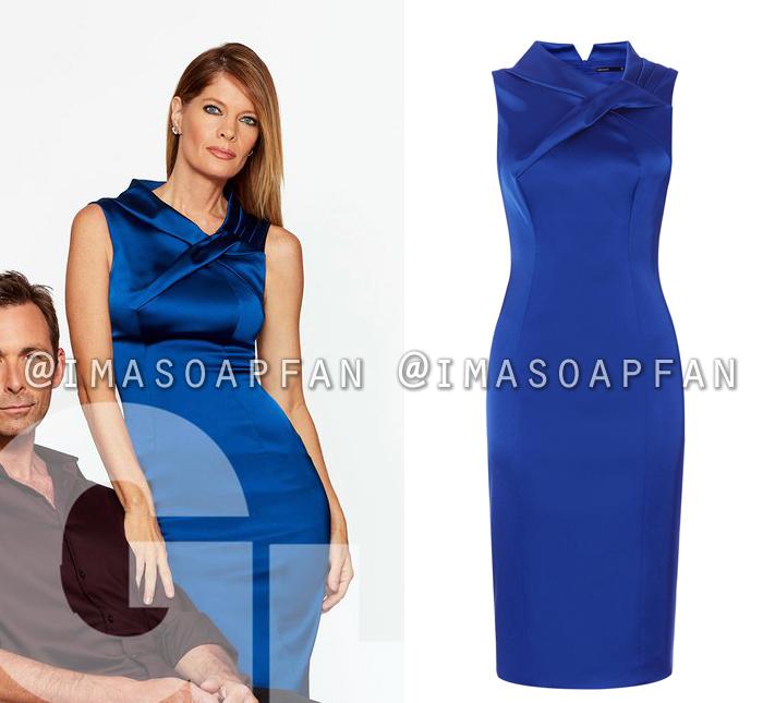 Nina Reeves, Michelle Stafford, Blue Satin Dress, Karen Millen, General Hospital, GH