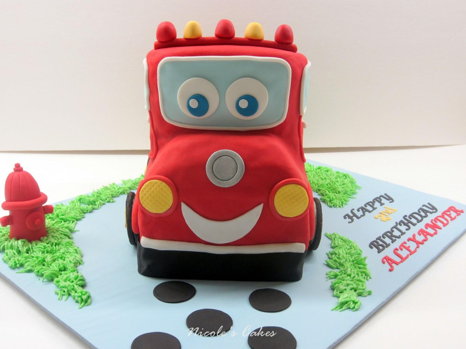 On Birthday Cakes 3 D Toy Firetruck Cake