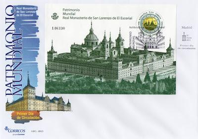Sobre PDC con la hoja bloque de la moneda de dos euros dedicada al Monasterio de San Lorenzo del Escorial