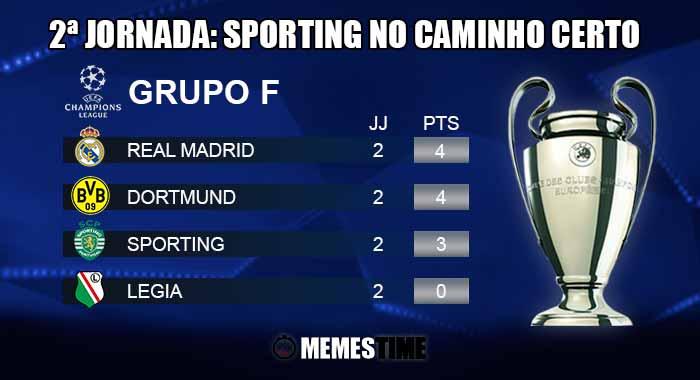 Memes Time, da bola que rola e faz rir - Classificação após a 2ª Jornada do Grupo F da Champions League: Sporting 2 - Legia 0 e Dortmund 2 - Real Madrid 2 – 2ªJornada: Sporting no caminho certo