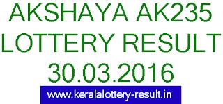 Kerala lottery result, Akshaya Lottery result, Akshay AK-235 lottery result, Todays Akshaya Ak235 Lottery result, Kerala lotteries Akshaya AK 235 result