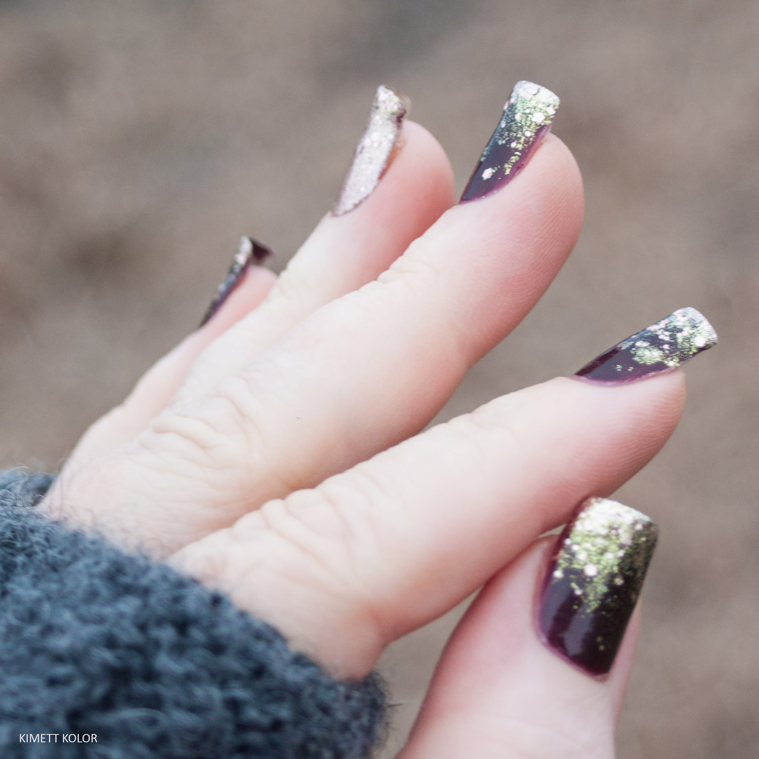 KimettKolor Glitter Gradient Nails for New Year's Eve