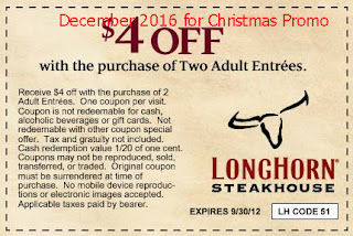 free Longhorn Steakhouse coupons december 2016