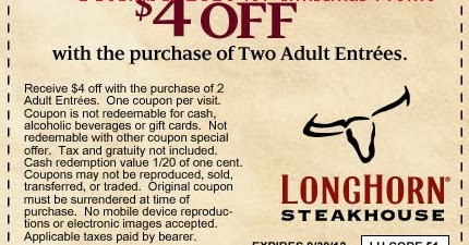 photograph about Longhorn Printable Coupons called Coupon for longhorn steakhouse - Irish cafe miami