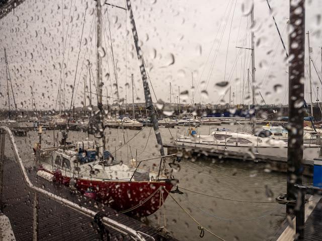 Photo of downpour Saturday at Maryport Marina