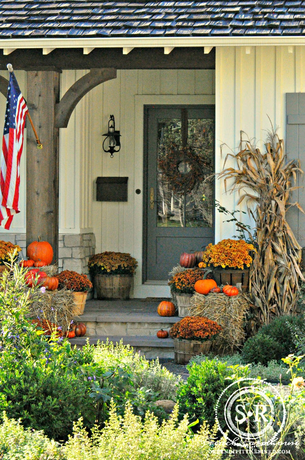 Farmhouse Porch Decor Simple Orange Mums
