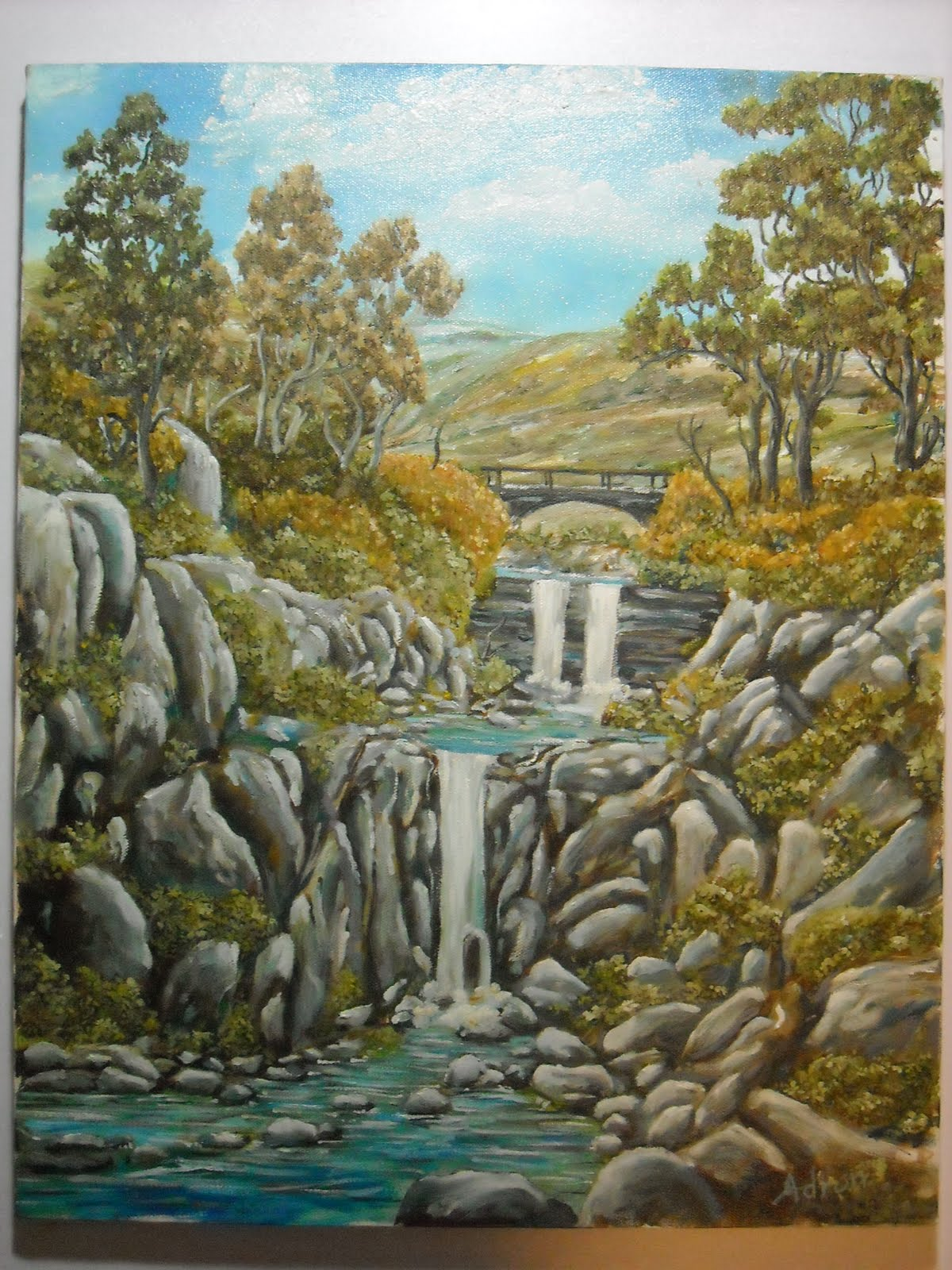 Artist Adron The Double Water Fall At Hayward Creek Ca