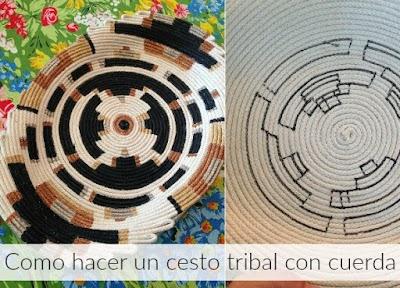 Bandeja tribal de cuerdas en espiral