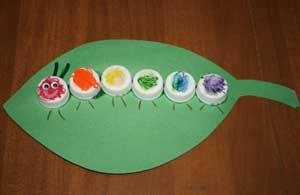 Idea to make caterpillar from bottle cap for kids
