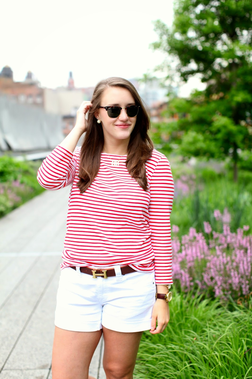 preppy summer style, white shorts, stripe shirt