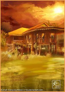 Lukisan Rumah Kampung Melayu di Malaysia oleh Yunqi