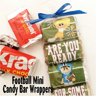 Nothing makes football better than enjoying it with a little bit of your favorite chocolate.  Watch the game, cheer on your favorite team, or enjoy a good book about football with these super cute Football Mini Candy Bar Wrappers that are a free printable for you to enjoy.
