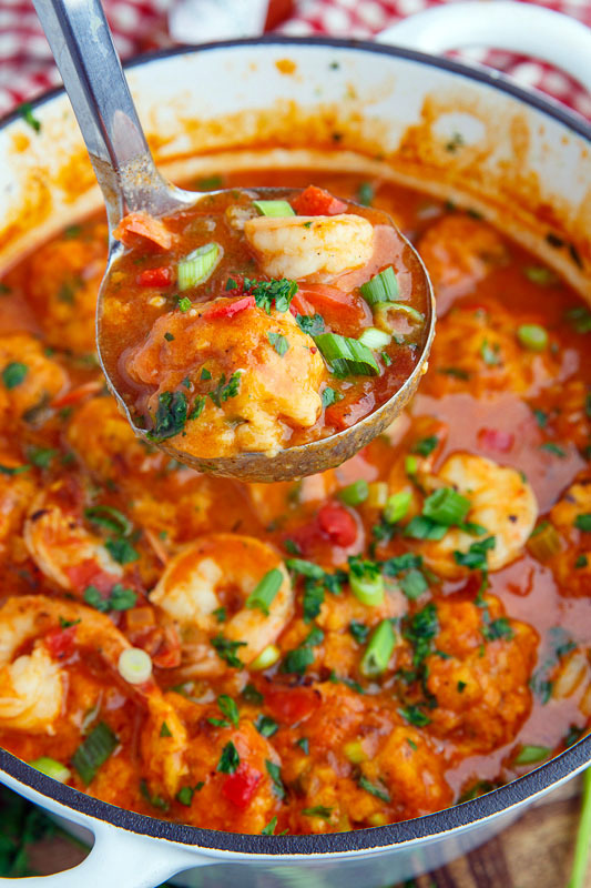 Shrimp Creole Soup with Bacon and Cheddar Dumplings