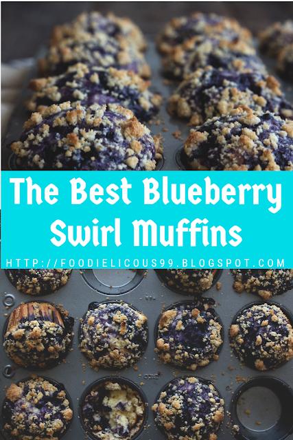 The Best Blueberry Swirl Muffins