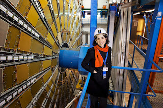 Fabiola Gianotti at the Large Hadron Collider site deep underground on the France-Switzerland border