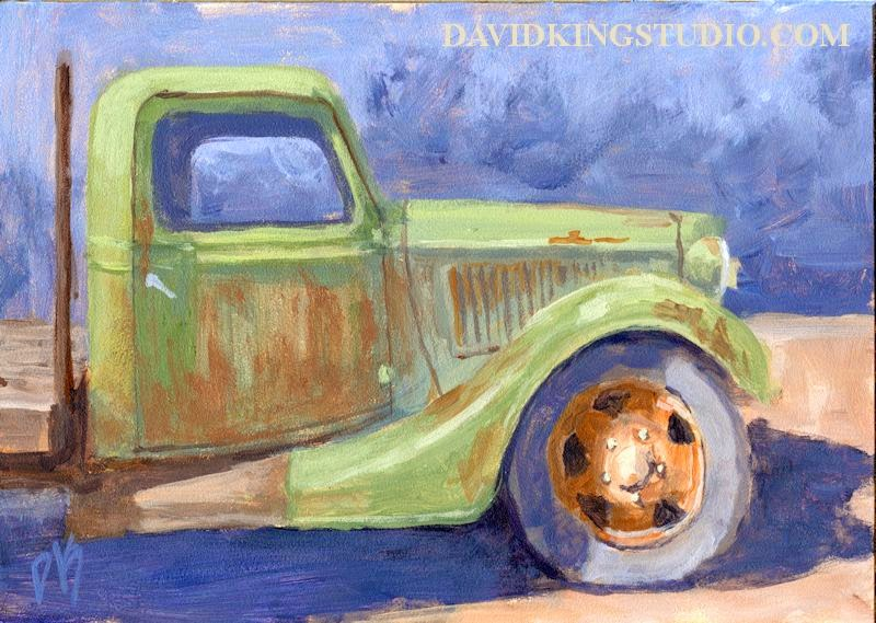 art painting truck Ford rusty 1936 vintage antique