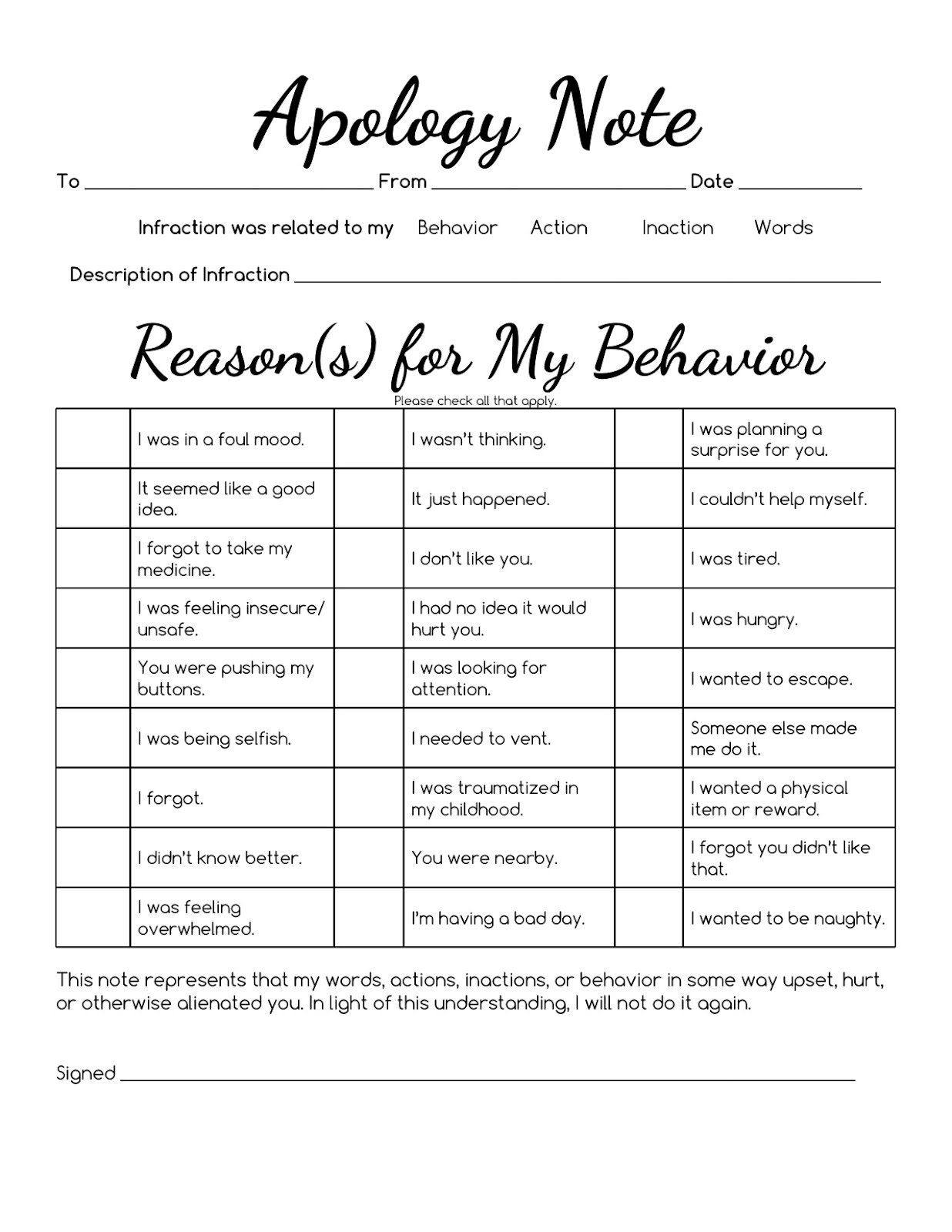 Sped Head Apology Note Checklist
