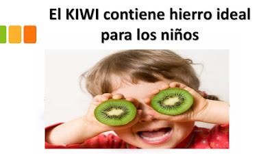 EL KIWI contiene hierro ideal para los niños