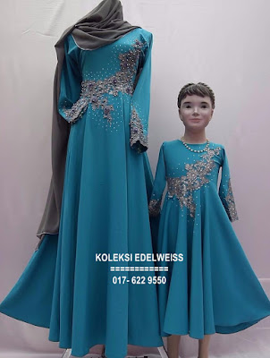 DRESS SET IBU ANAK WARNA BIRU