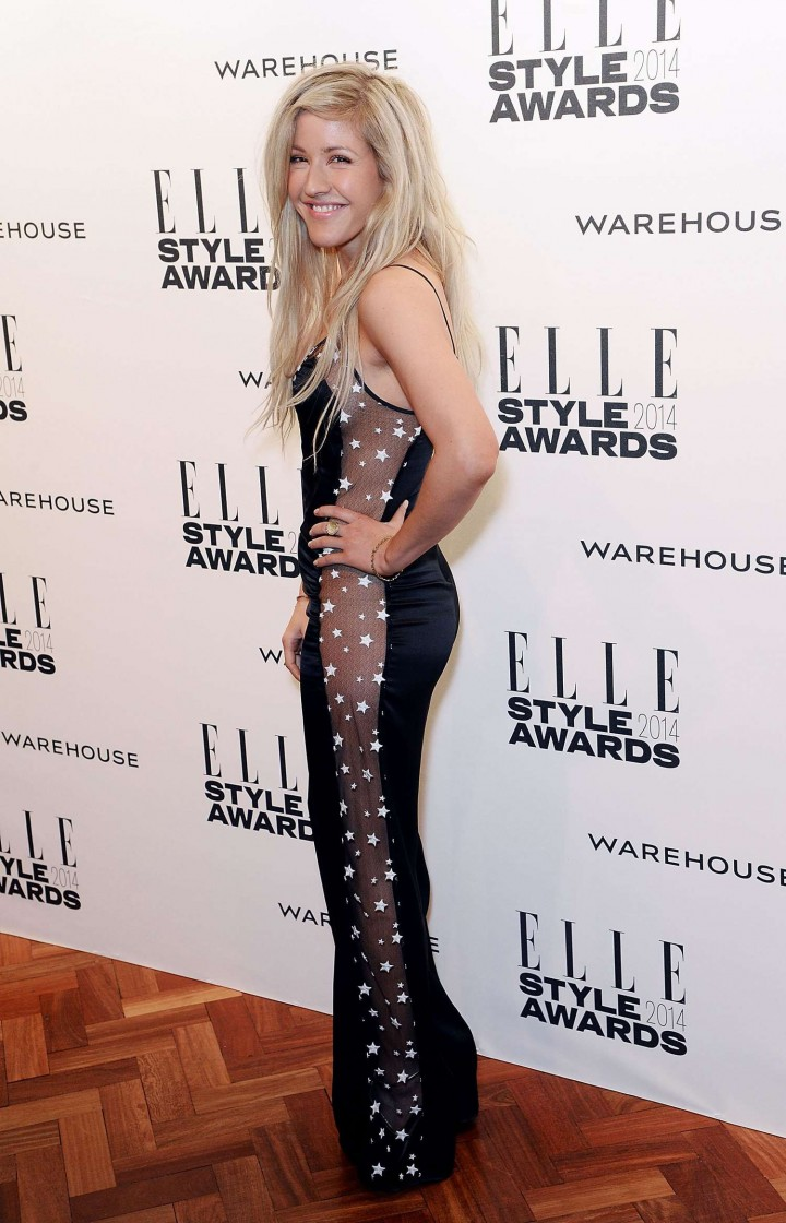 Hollywood Singer Long Hair Black Dress Ellie Goulding