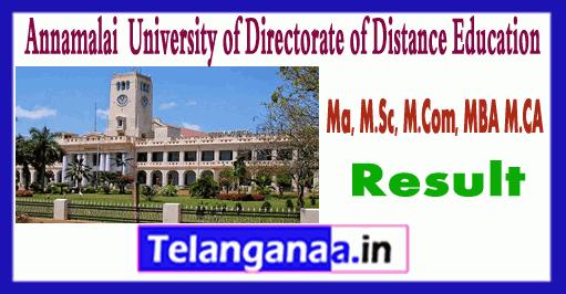 Annamalai University DDE 2018 MA MSc MCom MBA MCA Result