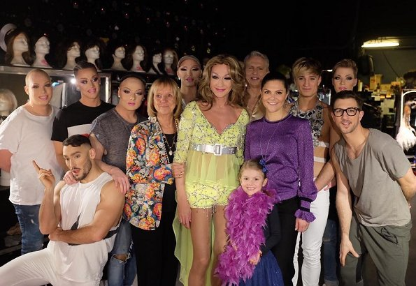 Crown Princess Victoria wore Baum und Pferdgarten Carmel top. drag queen Christer Lindarw dragshow group