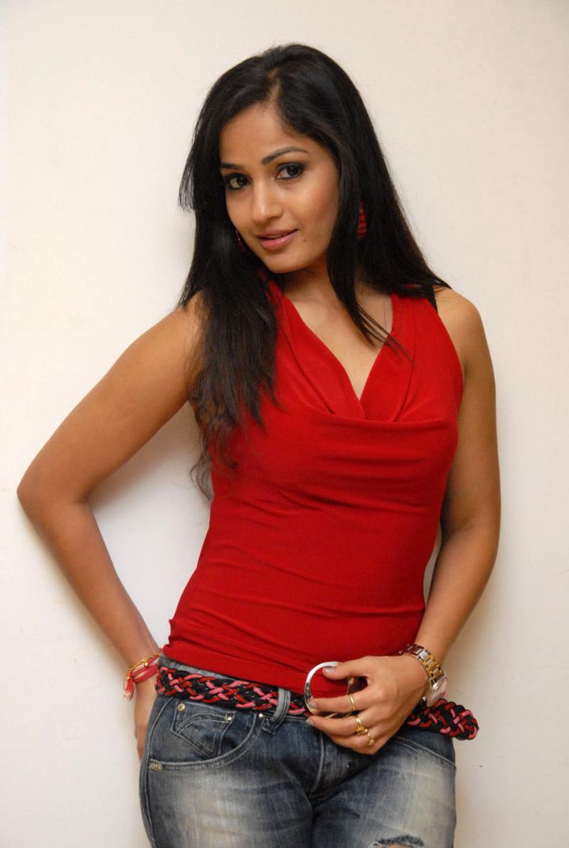 Beautiful Telugu Girl Madhavi Latha Long Hair In Red Dress