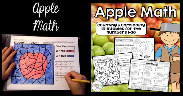 Apple Math Printables Counting Numbers 0-20