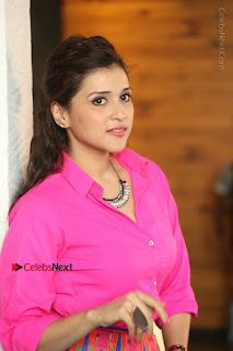 Actress Mannar Chopra in Pink Top and Blue Skirt at Rogue movie Interview  0158.JPG