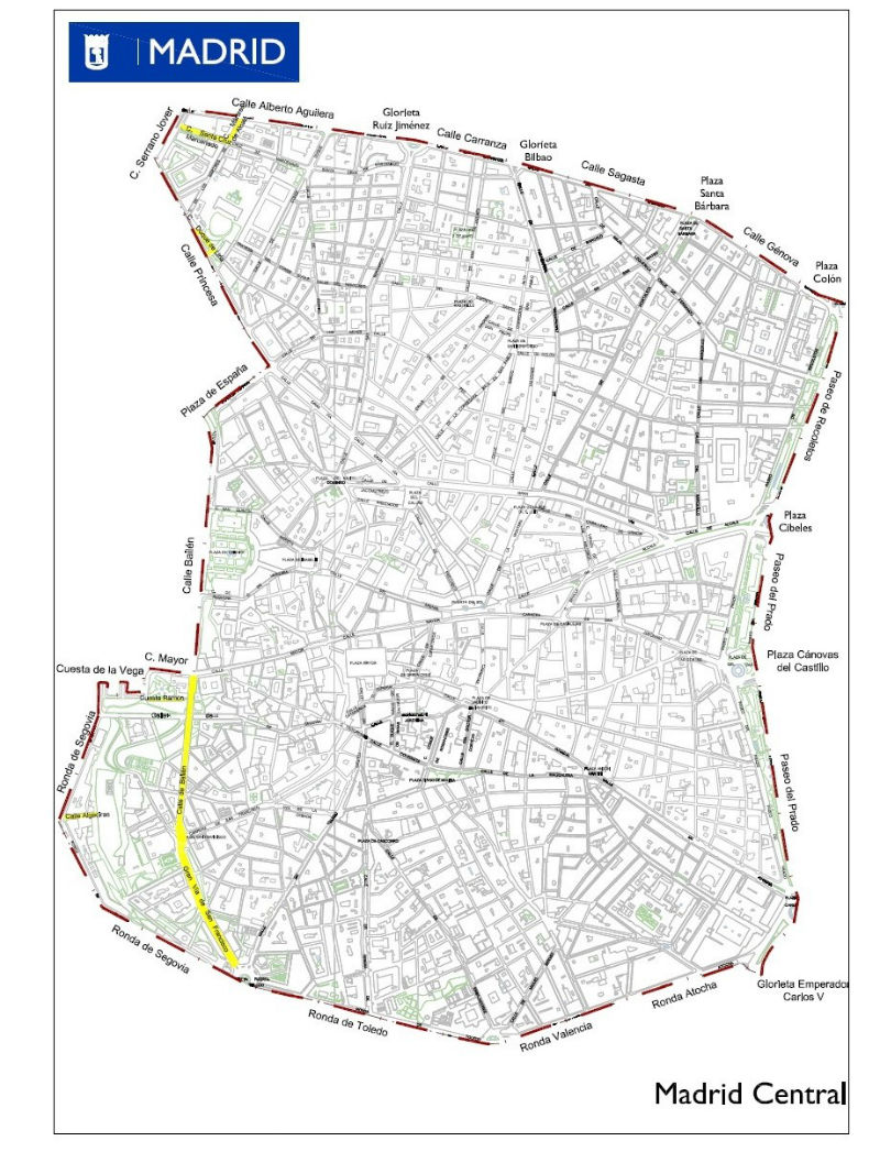 El mapa de Madrid Central: límites y líneas de la APR