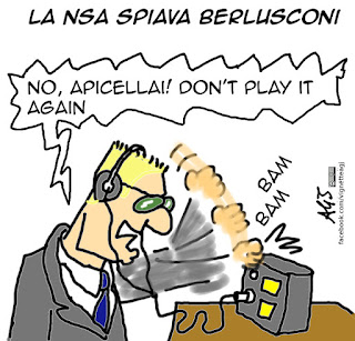 wikileaks, berlusconi, NSA, spionaggio, intercettazioni, vignetta satira