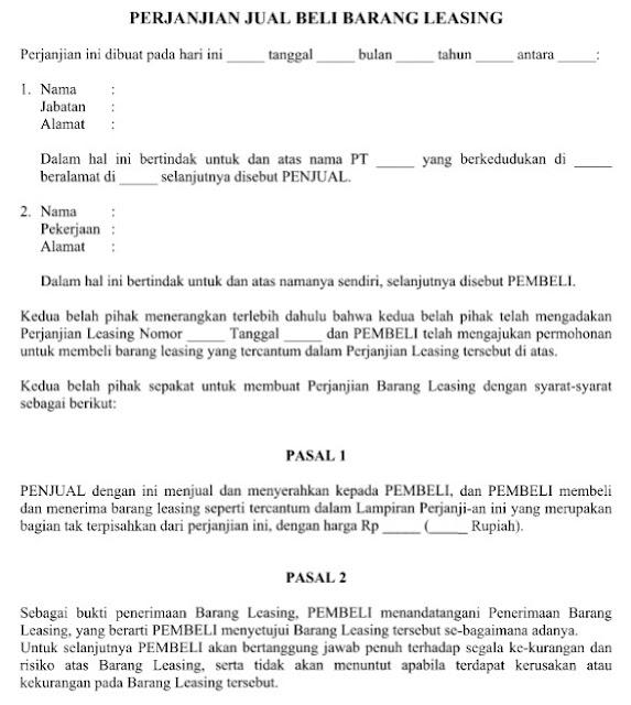 Download Contoh Surat Perjanjian Jual Beli Barang Leasing File Word