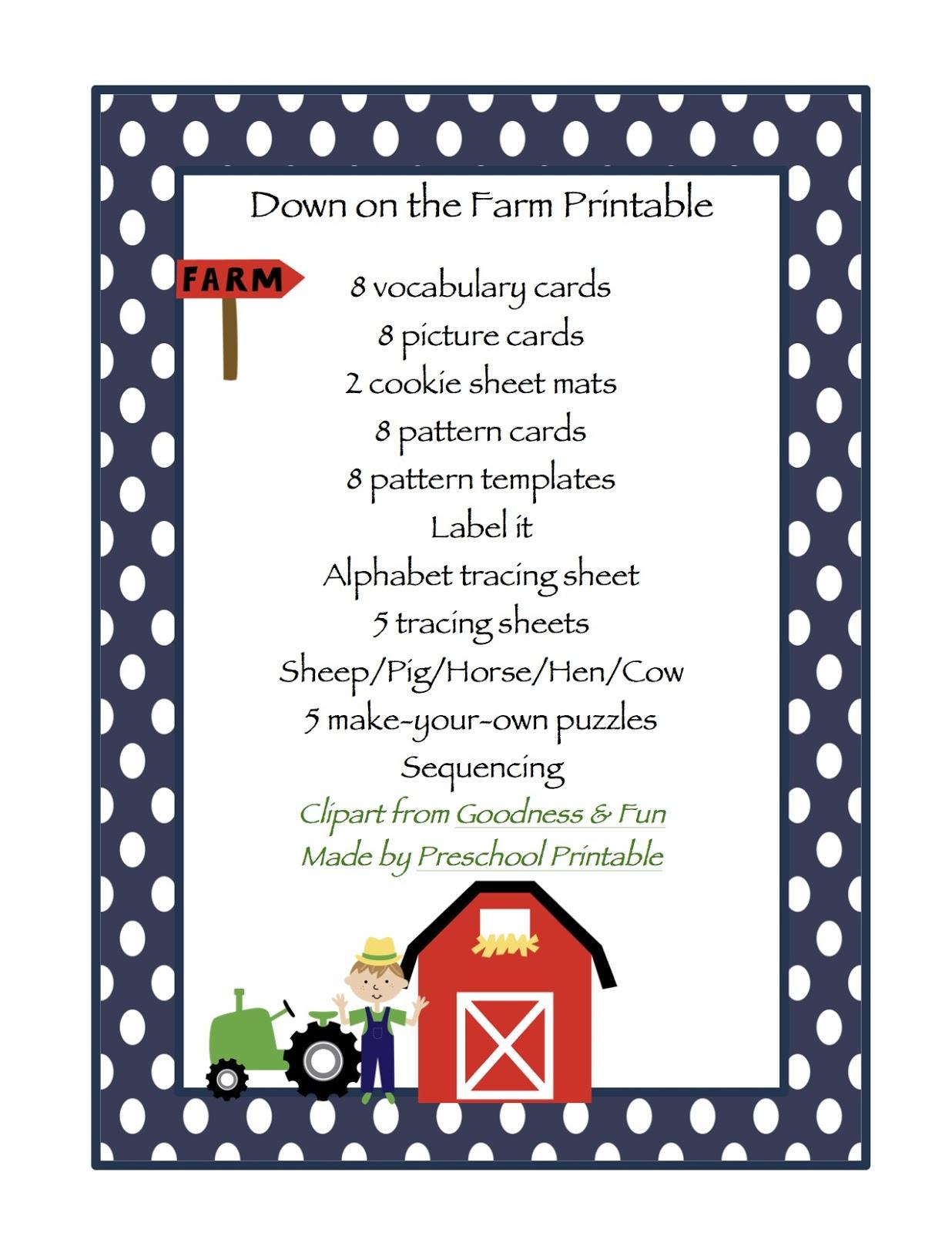 Down On The Farm Printable Preschool Printables