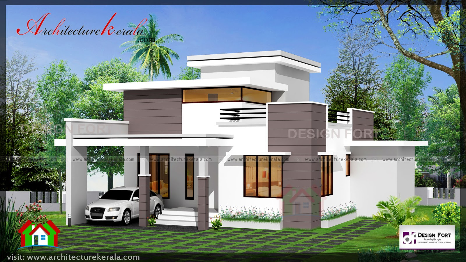 1000 square feet 2 bed house plan and elevation for Kerala home design 1000 sq feet