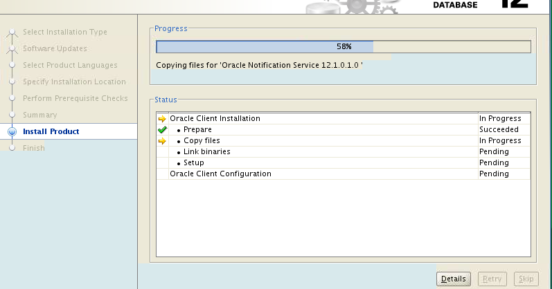 Oracle Client Installer hangs at Copying files