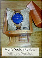 Men's wood watch, in lidded wooden box with title text overlayed