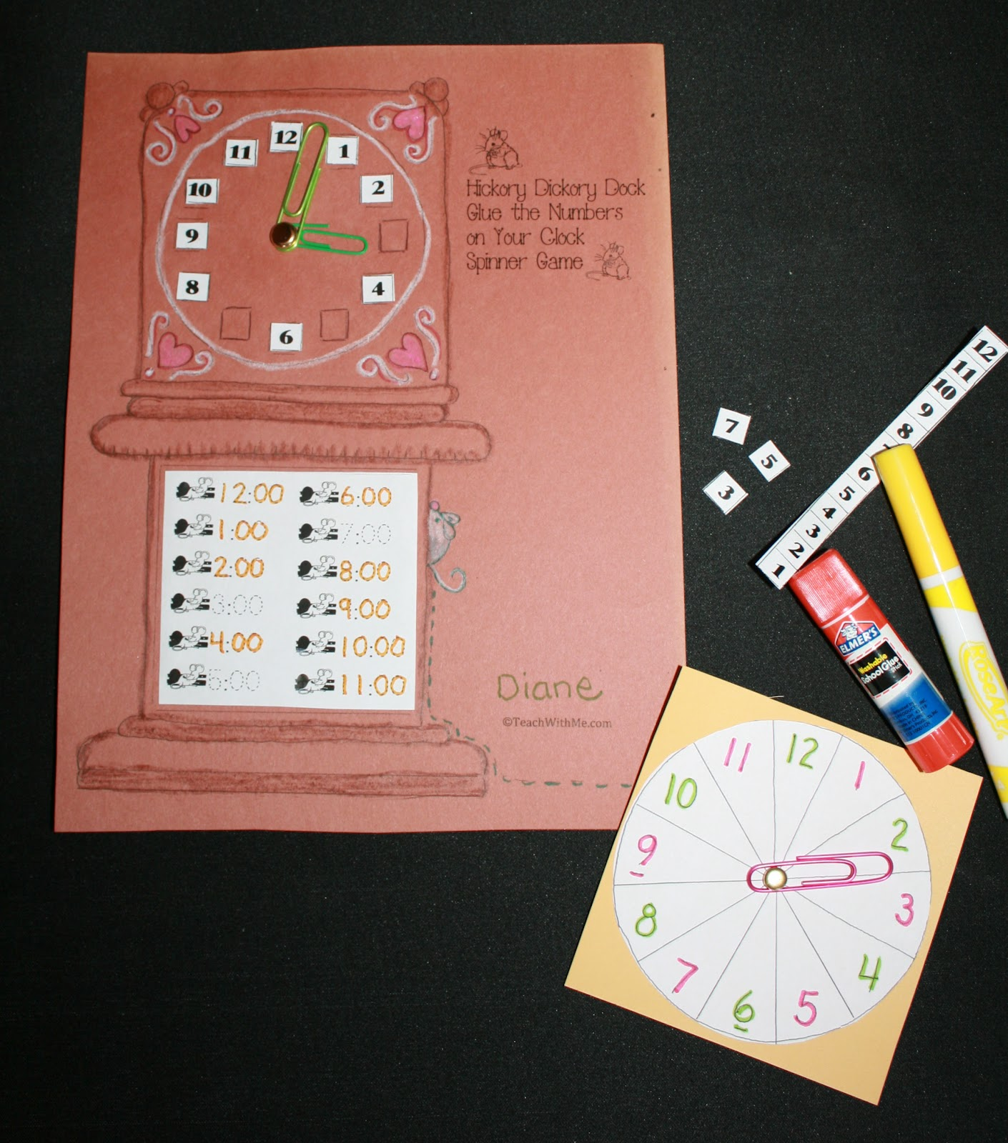 Classroom Freebies Hickory Dickory Clock Packet