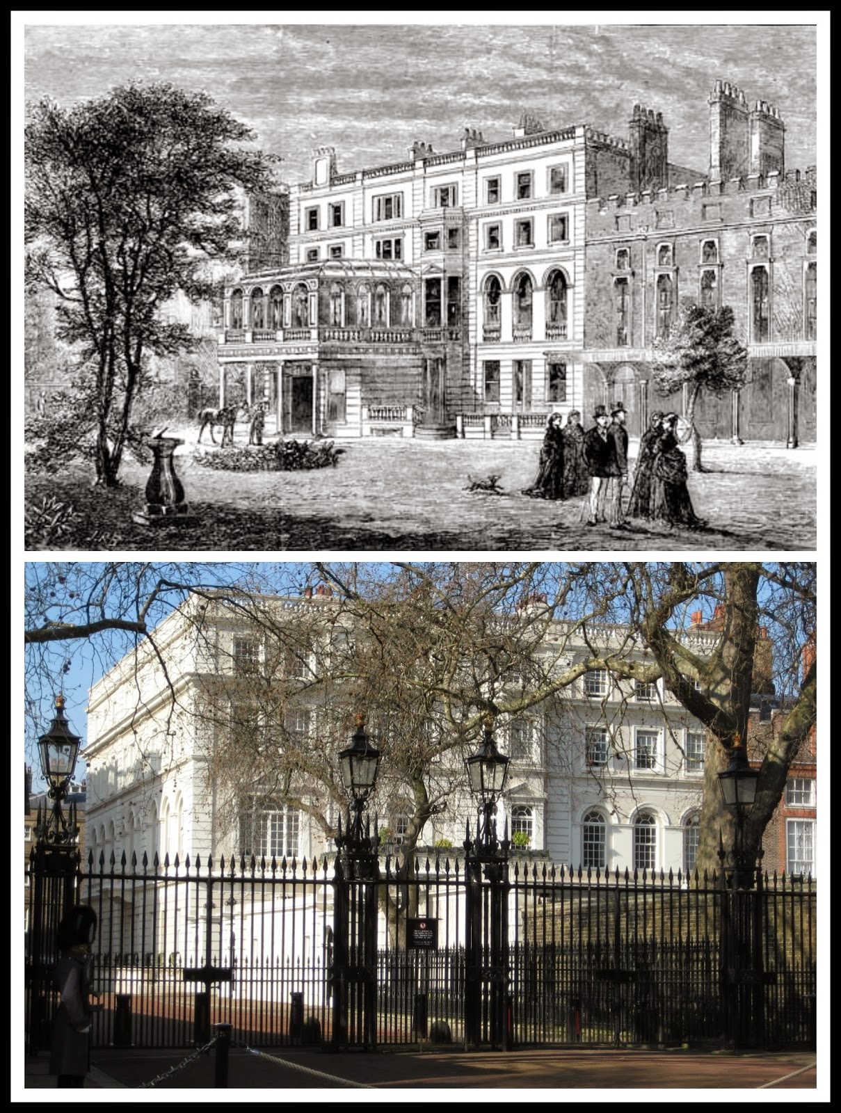 Top: Clarence House from The Graphic (Nov 1874)  Bottom: Clarence House today © Andrew Knowles