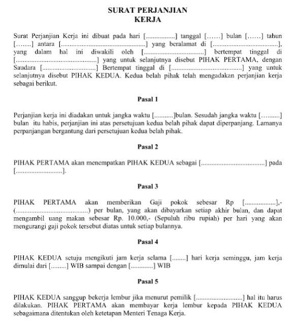 Download Contoh Surat Perjanjian Kerja Resmi Baik & Benar Format Word