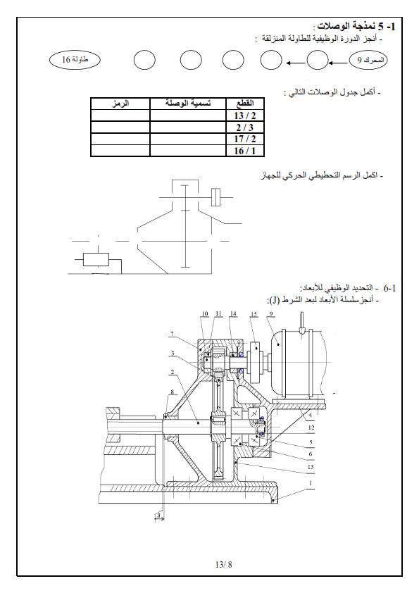 اختبار الثلاثي الاول في الهندسة الميكانيكية للسنة 3 ثانوي