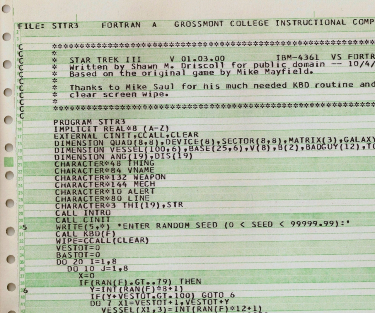 Shawn Driscoll's Tech Blog: FORTRAN 77 is 35 Years Old