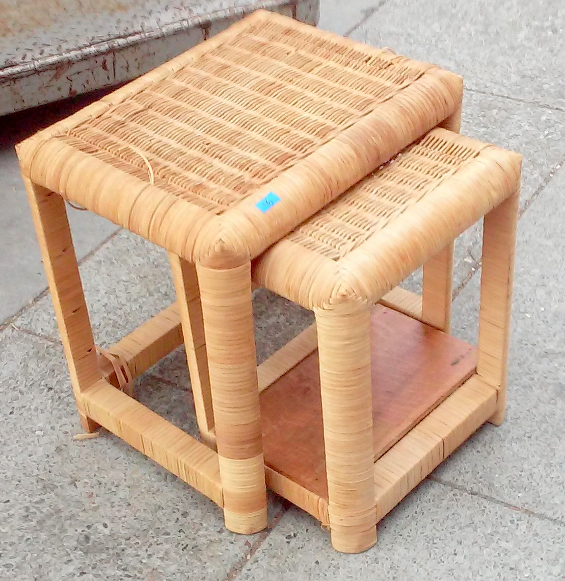 SOLD #7027 Wicker Nesting Tables   $15 / 2 Piece Set