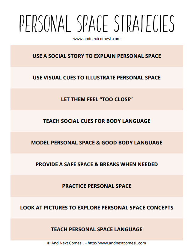 Free printable cheat sheet on how to teach kids about personal space from And Next Comes L