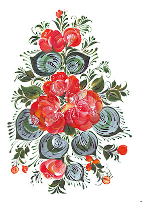 Digital Printable the Flowers  in Russian folk style