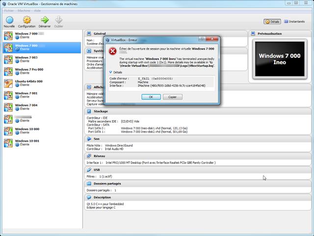 Oracle VM VirtualBaox - Error !