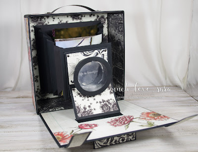 "Created using Fun Stampers Journey products, this gorgeous vintage style camera box has a clean shabby chic style.  Opened up, the ""camera"" extends out, leaving accordian folder style pockets, for photo storage or display.  Purchase the products used by visiting funstampersjourney.com/muchlovesara"