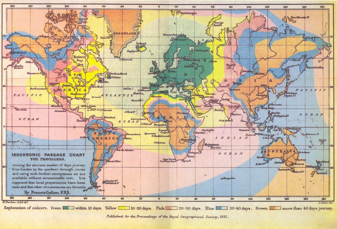 Isochronic distances in days from London (1881)